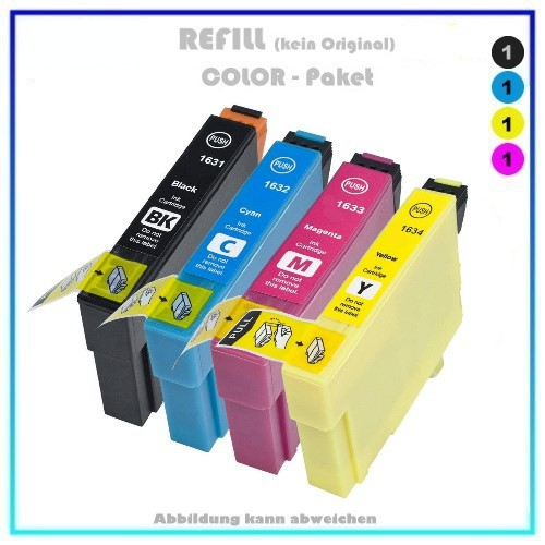 Multipack T1636 Alternativ Tinte für Epson C13T16364010 - Inhalt 1x BK=14,6ml - 1xC,1xM,1xY=je10ml (