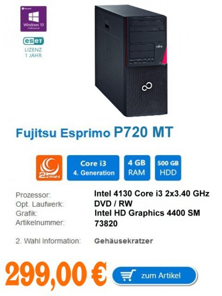 Fujitsu ESPRIMO P720 MT Intel 4130 Core i3 2x3.40 GHz Intel HD Graphics 4400 Shared Memory 4 MB RAM