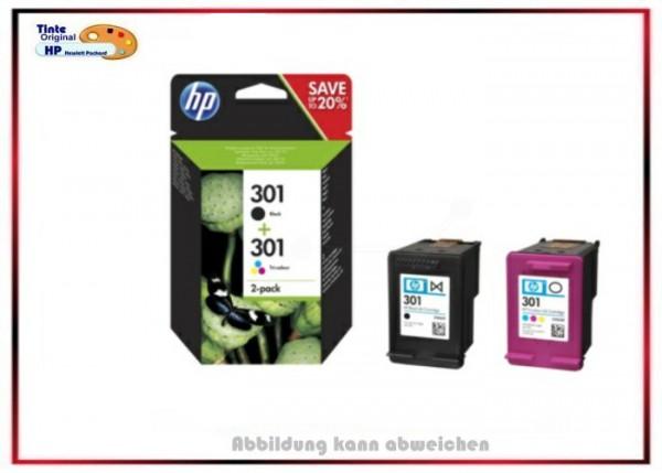 HP-301BK + HP-301C, N9J72AE, Original HP Tinte Combopack N9J72AE, BK=190 Seiten + C,M,Y=165 Seiten.