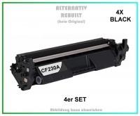 4er Set TONCF230A Alternativ Tonerkartusche 4X Black für HP - CF230A - Inhalt 4X 1.600 Seiten