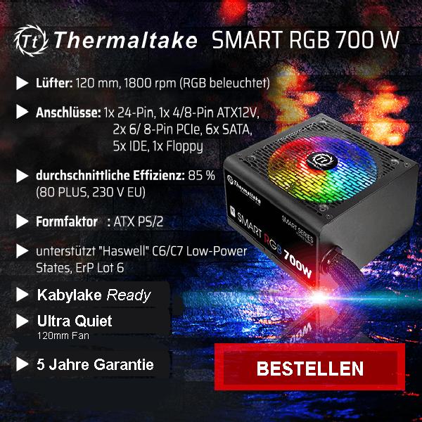 PC- Netzteil Thermaltake SMART RGB 700W 80+ - Leistung 700 Watt, Spannung 12 Volt.
