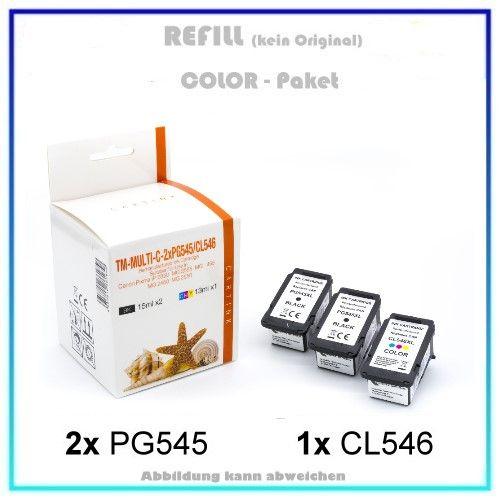 Multipack PG545/CL546 Alternativ Tinte Canon, TS-3150, 8287B005 - Inhalt 2xPG545=15ml, 1xCL546=13ml