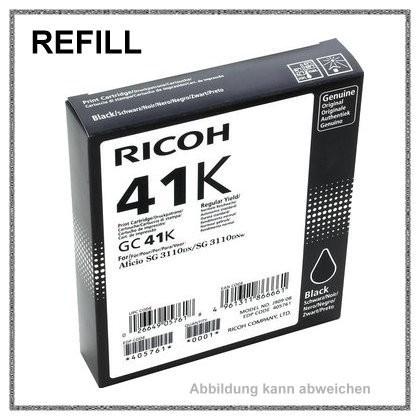 REFGC41KH Refill Tinte Gelkartusche Black für Ricoh - 405761 - Inhalt fuer ca. 2.500 Seiten