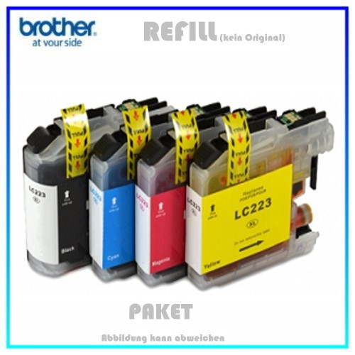 Multipack LC223 Alternativ Tintenpatrone für Brother LC223VALBP - Inhalt BK=20ml - C,M,Y=je 10ml
