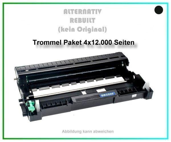 4er Set TONDR2200 Alternativ Trommel Black für Brother DR2200, HL-2130, Inhalt 4x12.000 Seiten.