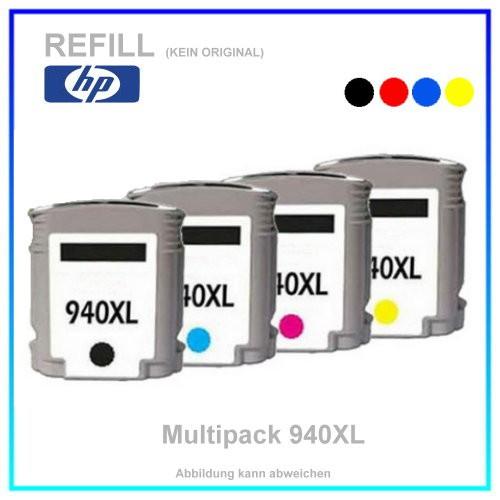 Multipack 940XL Alternativ Tintenpatronen für HP - C4906AE - 1x BK=55ml - 1x C,M,Y a. =18ml