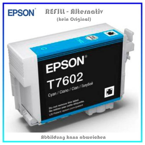 BULK T7602 Alternativ Tintenpatrone Cyan für Epson - C13T76024010 - Inhalt 32ml