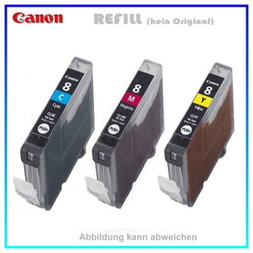 Multipack CLI8C,M,Y mit Chip - 1xC+1xM+1xY je = 13ml Alternativ Tintenpatronen Canon 0621B029 Pixma