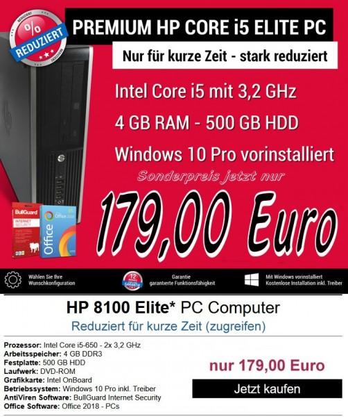 HP 8100 Elite SFF PC Computer - Intel Core i5-650 2x 3,2 GHz. Zustand gebraucht - refurbished, mit G