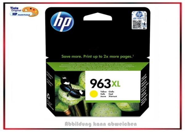 HP-963XLY, HP Ink Cart. 3JA29AE, 963XL, Farbe: Yellow für Office Jet Pro, 3JA29AE, Inhalt 22,92 ml,