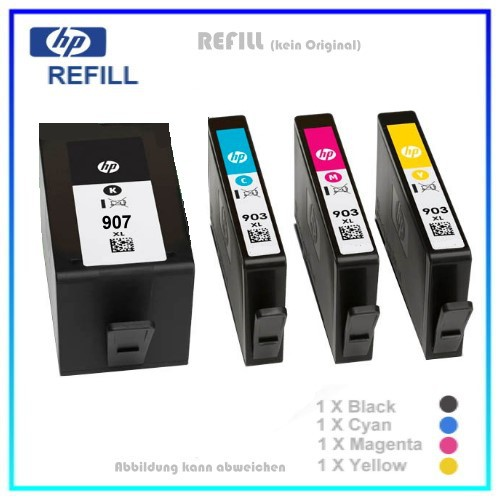Multipack 907/903 Alternativ Tinte für HP T6M19AE - T6M03/07/11AE - BK=37ml - CMY=je 14,2ml