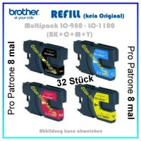 32 Patronen Brother Multipack LC980 - LC1100 - (BK+C+M+Y) MFC5890, BK-25ml  C,M,Y-12ml