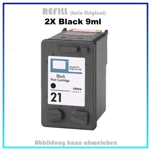 HP-21 klein Doppelpack, REF21 klein, C9351AE Refill Tintenpatrone Black für HP, Inhalt 2x9ml