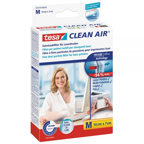 Tesa Clean Air, Größe M, Feinstaubfilter für Laserdrucker, Größe M