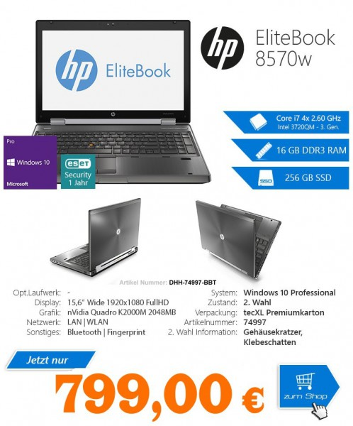 HP EliteBook 8570w, Intel 3720QM Core i7 4x2.60GHz,15.6,1920x1080 1080p,nVidiaK2000M,WIN10,gebraucht