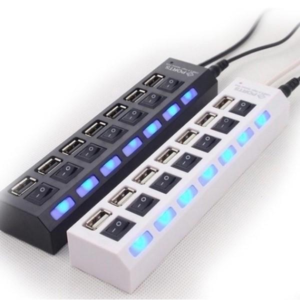 USB 7 Ports LED USB 2.0 Adapter Hub Power on/off Switch für PC & Laptop, Farbe: Weiß