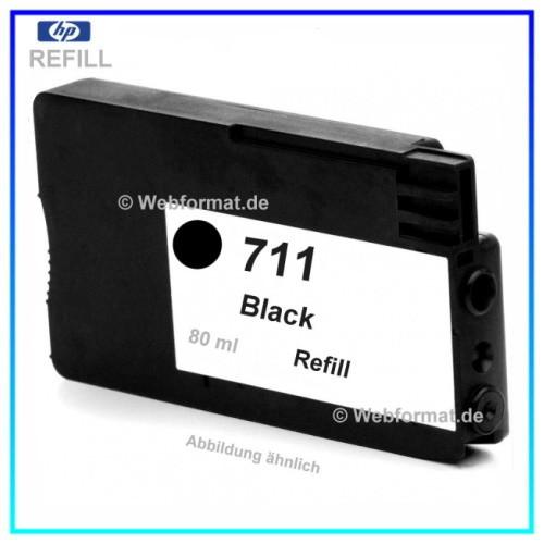 REF711 - Refill Tinte Black für Drucker HP Designjet T120 - T520 ePrinter - CZ129A - Inhalt ca. 80ml