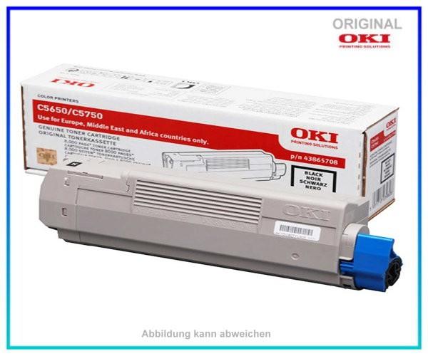 43865708 Farblasertoner Original Schwarz f. Oki C5650 - C5750 - Inhalt ca. 8.000 Seiten
