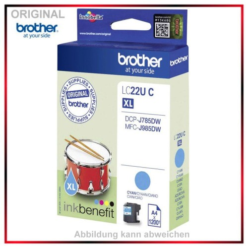 LC22UC - Original Tinte Cyan f. Brother - LC22UC - DCP-J785DW - MFC-J 985 DW - Inhalt 1.200 Seiten