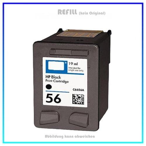 REF56A - Black - Refill Tintenpatrone für HP Drucker C6656A - HP 56A, Inhalt 19ml (kein Original).