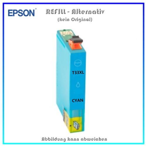 T33XLC Alternativ Tinte Cyan fuer Epson XP530 - XP630 - XP635 - XP830 - Inhalt ca. 14 ml (kein Origi