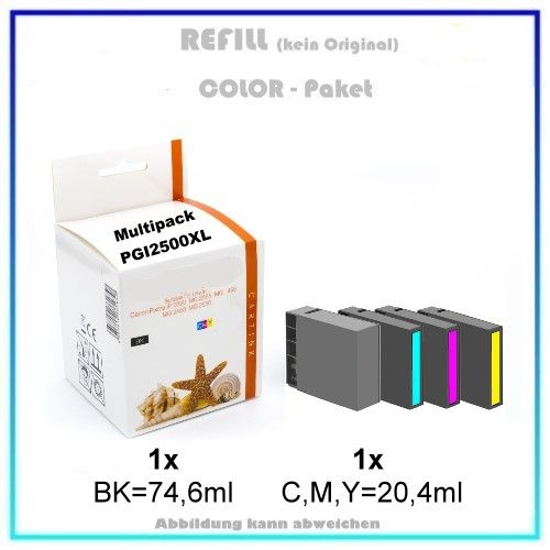 Multipack PGI2500XL Alternativ Tinte für Canon, 9254B004 - Inhalt: BK=74,6ml / C,M,Y=20,4ml.