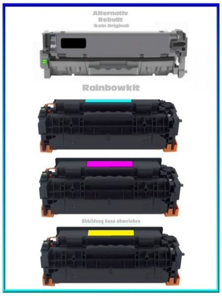 CC530KIT, TONCC530, Alternativ Toner Rainbowkit, Black & Color für HP Laserjet, CC530, kein Original