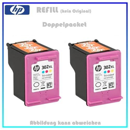 REF302CXL - Doppelpack, HP Refill Patrone Color f. F6U67AE - HP Nr 302CXL - Inhalt 2x 18ml.
