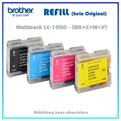 Multipack LC970-LC1000 (BK+C+M+Y) Alternativ Tintenpatronen Brother LC1000VALBP, BK=22ml,Color=18ml
