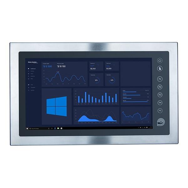 """Panel-PC Edelstahl 21,5"""" Calmo 2F0M1 J5005, 4GB RAM, 120GB SSD, RFID, VESA, IP69K, W10Pro"""