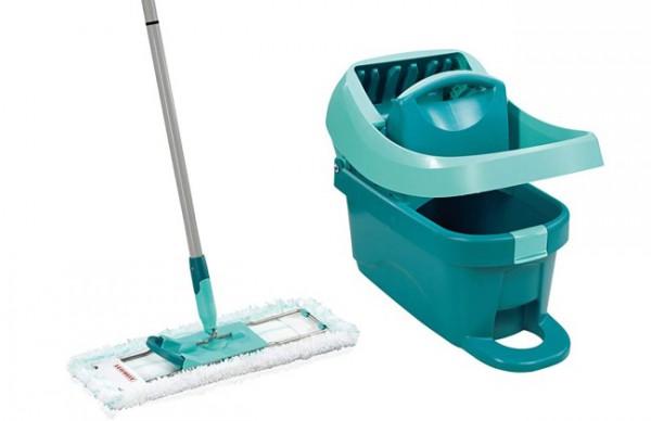 Leifheit Set Wischtuchpresse Profi XL mit Bodenwischer und Rollen zum Putzen mit sauberen Händen