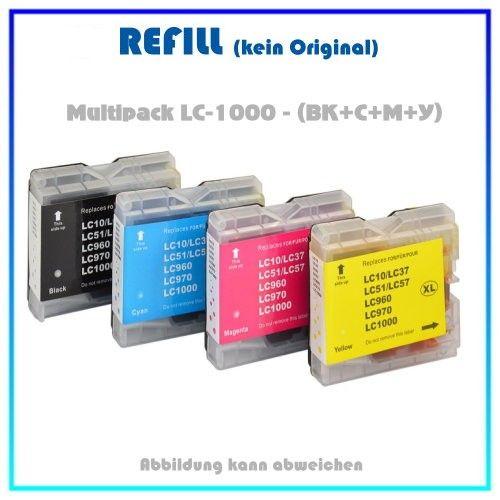 Multipack LC970-LC1000 (BK+C+M+Y) Alternativ Tintenpatronen Brother LC1000VALBP, BK=22ml,Color=18ml