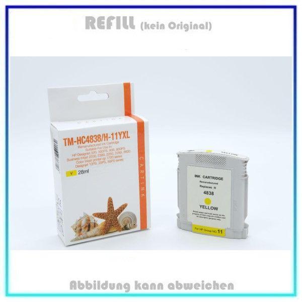 REFC4838, C4838A, HP-11, Farbe Yellow, Refill Tinte f. HP C4838, C4838A, Inh. 28 ml, k. Original.