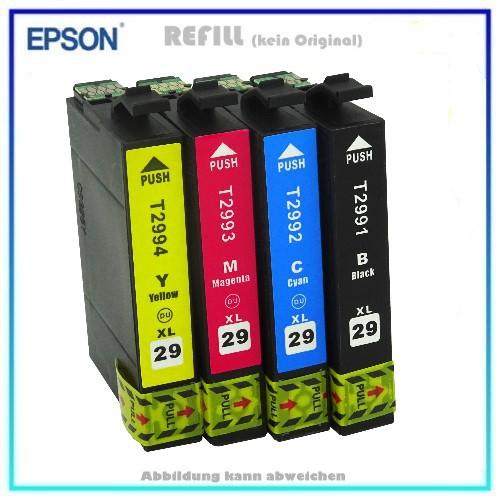 Multipack T2996 Alternativ Tinte Epson C13T29964010, 29XL - Inhalt 1x BK=14,6ml, 1xC,1xM,1xY=je9,6ml