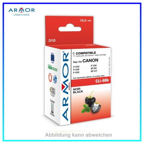 310 Armor CLI8BK mit Chip black f. Canon IP4200, IP4300, IP5200, IP5300 MP500, MP530,16ml